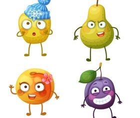 Plum mango etc cartoon expression vector