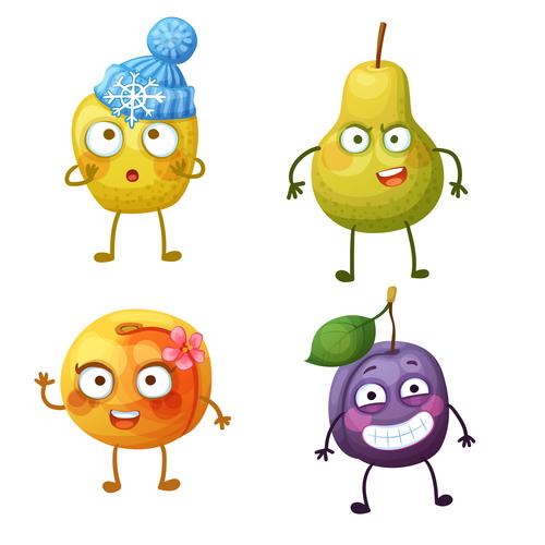 Plum mango etc cartoon expression vector