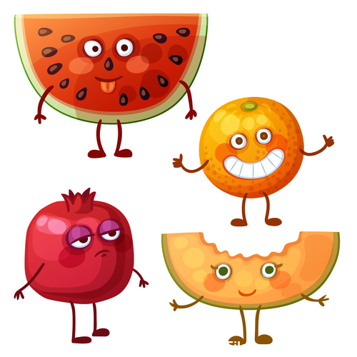 Pomegranate watermelon and orange fruit cartoon expression vector