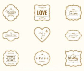 Pretty wedding labels vector