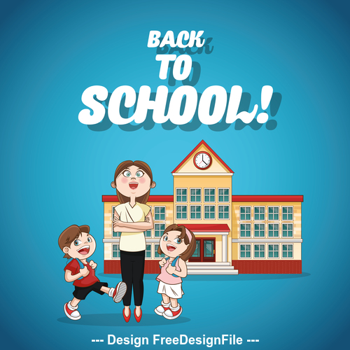 Primary school students and female teachers vector