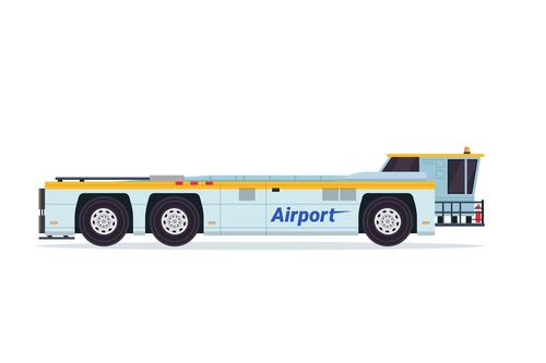 Professional airport fire truck cartoon vector