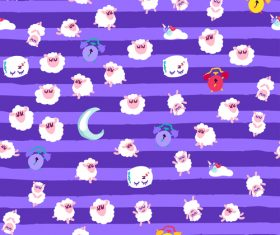 Purple background goodnight cartoon patterns vector
