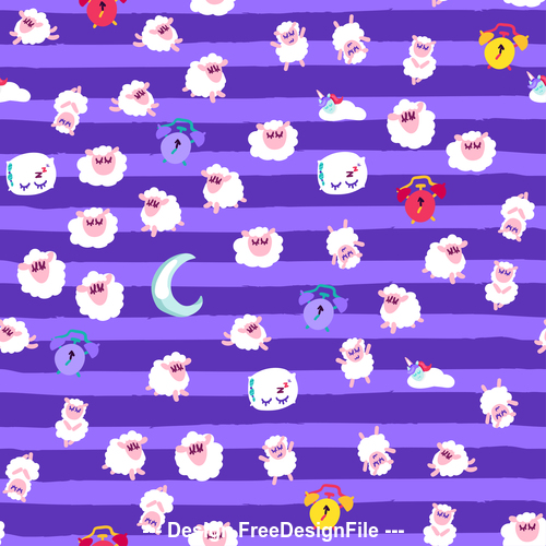 Purple background goodnight cartoon patterns vector