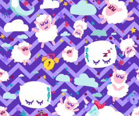 Purple wavy background goodnight cartoon patterns vector