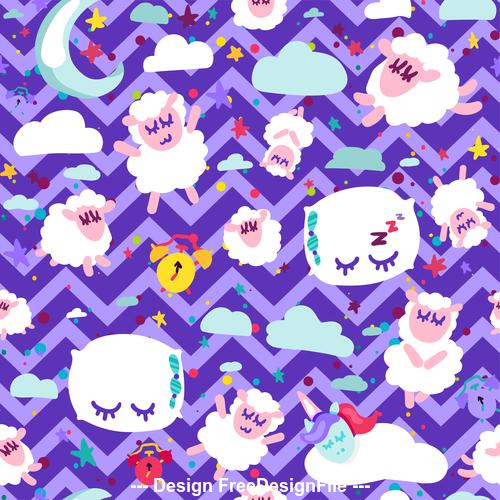 Purple wavy background goodnight cartoon patterns vector