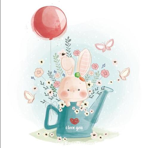 Rabbit and balloon watercolor drawings vector illustration