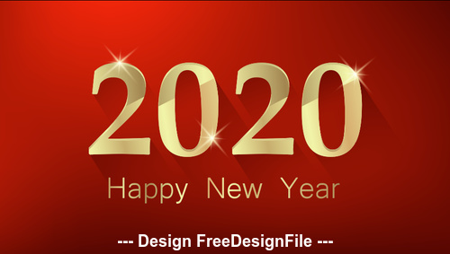 Red background gold word 2020 new year vector