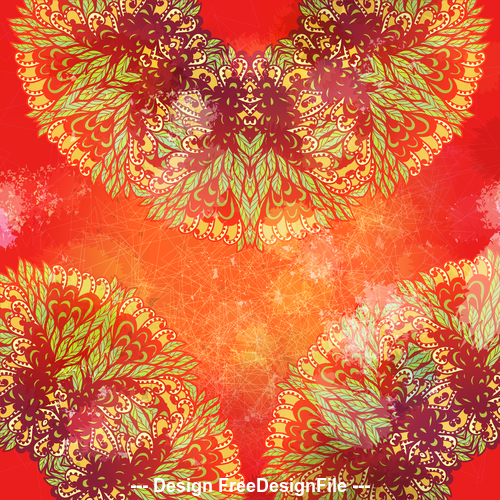 Red background hand drawn ethnic floral vector
