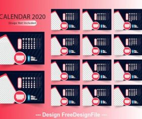 Red gradient background new year calendar vector