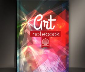 Red line abstract notebook cover vector