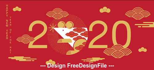 Red silhouette illustration 2020 happy year of the rat vector