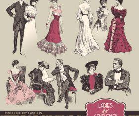 Retro elegant lady and men vector