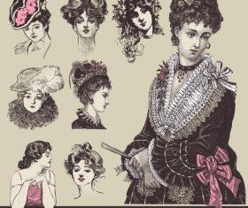 Retro elegant lady hairstyle vector