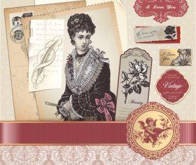 Retro elegant lady postcard vector