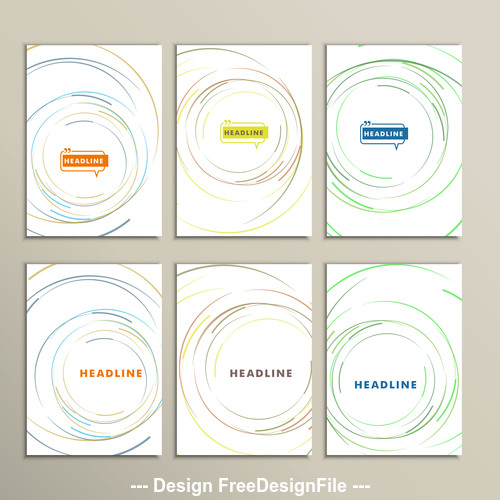 Round line cover template vecto