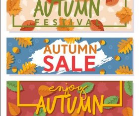 Sale autumn pattern banner vector