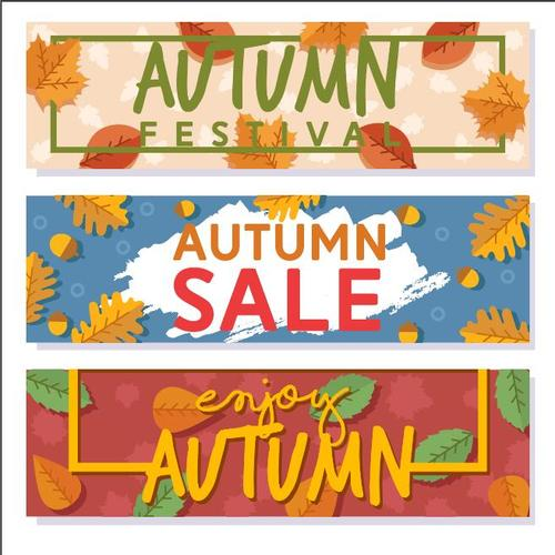 Sale autumn pattern banner vector