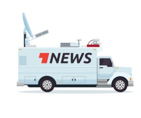 Satellite transmission broadcasting vehicle vector