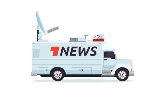 Satellite transmission broadcasting vehicle vector