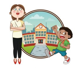 School building cartoon illustration vector