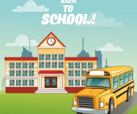 School bus and school building cartoon illustration vector