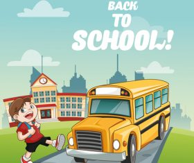 Schoolboy and school bus cartoon vector