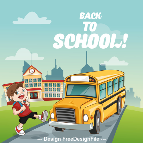 Schoolboy and school bus cartoon vector
