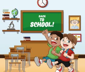 Schoolboy cartoon illustration for class vector