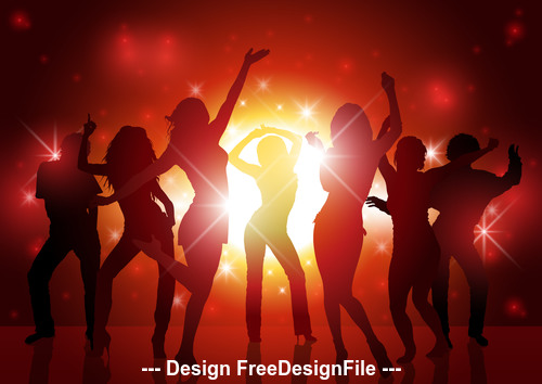 Silhouette dance party poster vector