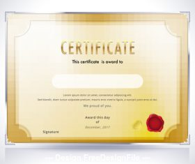 Silver edging golden background certificate template vector