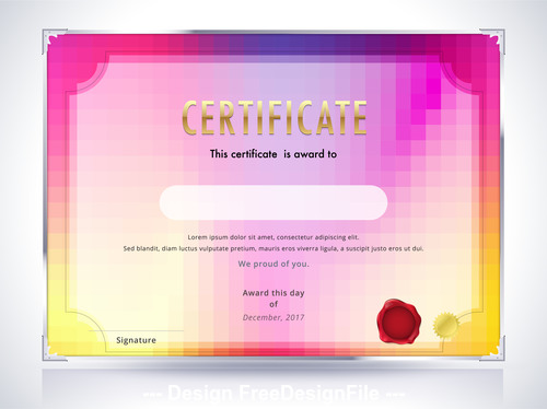 Silver edging pink background certificate template vector