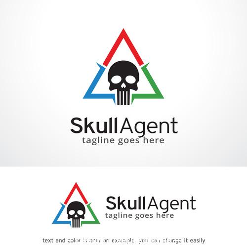 Skull agent logo vector