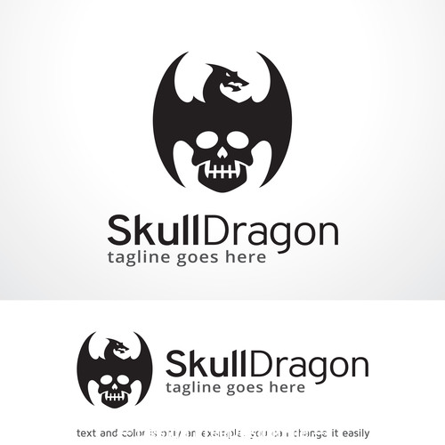 Skull dragon logo vector