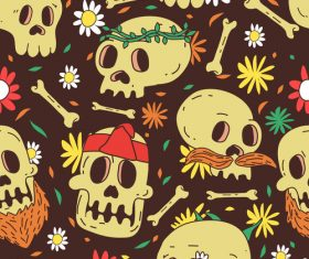 Skull pattern cartoon background vector