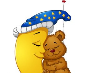 Sleeping bear baby cartoon illustration vector