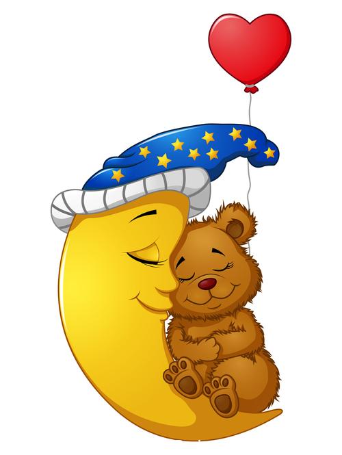 Sleeping bear baby cartoon illustration vector