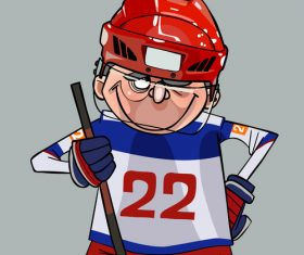 Smiling hockey player cartoon comic vector