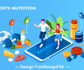 Sports and nutrition cartoon illustration vector