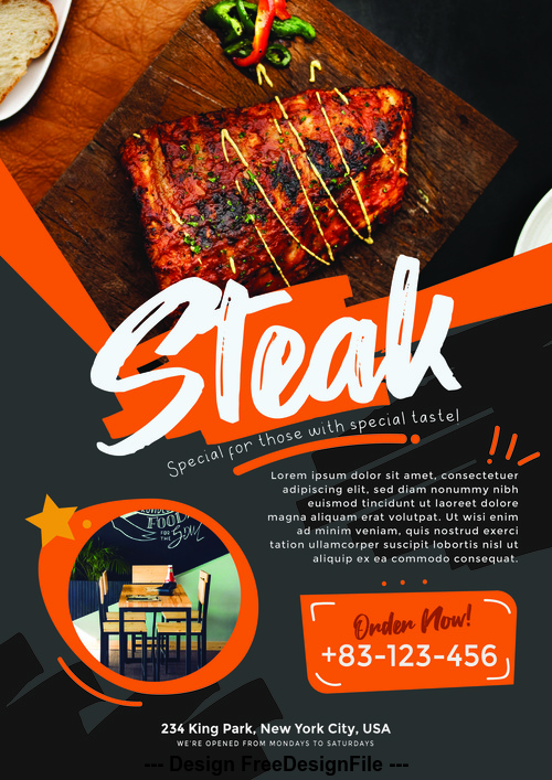 Steak Poster and Flyer PSD Template