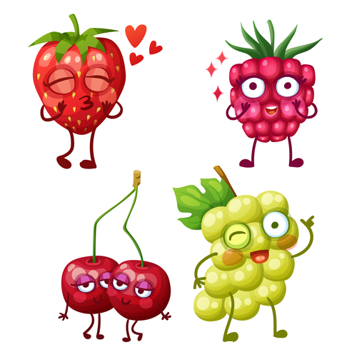 Strawberry and cherries cartoon emoticons vector