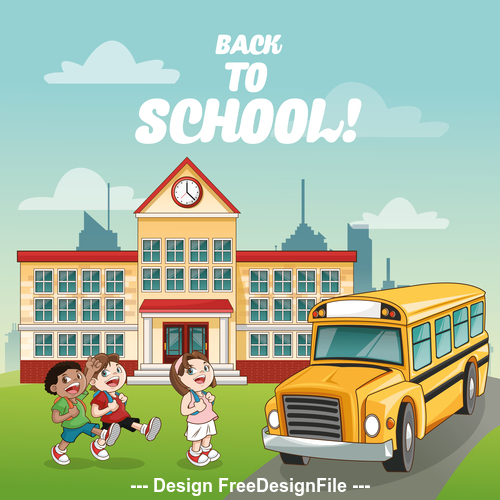 Students who are going home by school bus vector