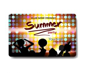 Summer nightclub discount gift card vector