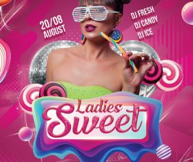 Sweet Ladies Night Party PSD Flyer template