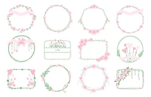 Sweet frames floral wreath vector