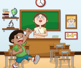 Teacher and elementary school student classroom cartoon illustration vector