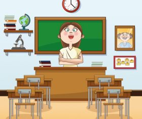 Teacher cartoon illustration in the classroom vector