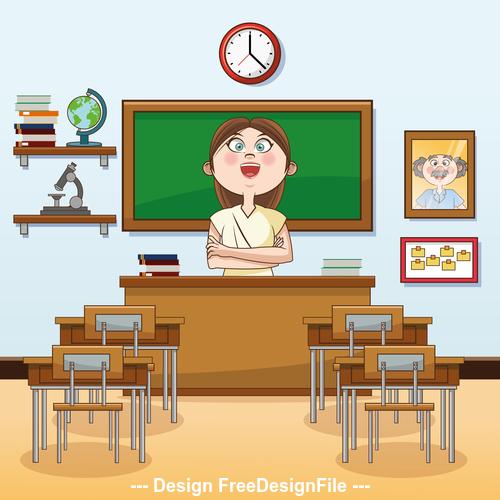 Teacher cartoon illustration in the classroom vector