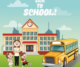Teacher send student to school bus cartoon illustration vector