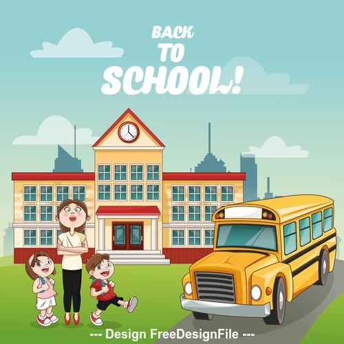 Teacher send student to school bus cartoon illustration vector